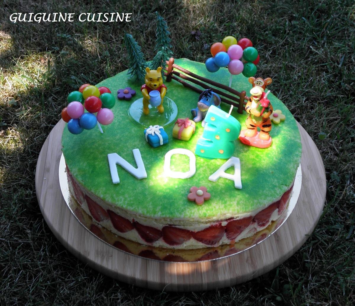 G teau d anniversaire winnie l ourson un fraisier for Decoration d un fraisier